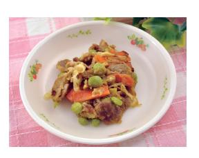 豚肉と枝豆のカレー炒め