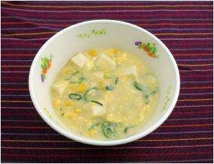 米粉のコーンたっぷり中華風スープ